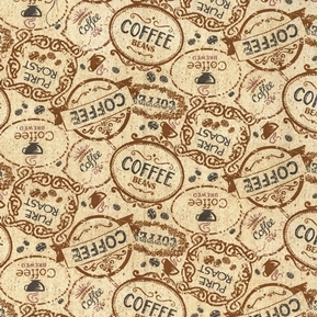 Picture of Coffee Brew Badges Pure Roast Brown Cotton Fabric