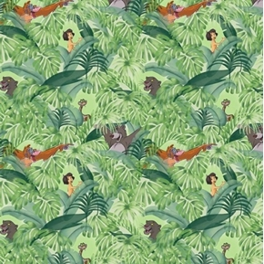 Picture of Disney Jungle Book Baloo and Mowgli King Louie Forest Cotton Fabric
