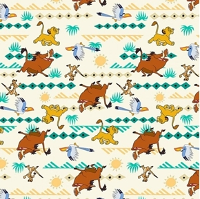 Disney Lion King Simba Geo Print Pumbaa Zazu Timon Cotton Fabric