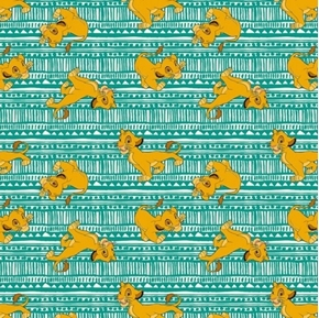 Disney Lion King Simba Toss Cute Lion Poses Aqua Green Cotton Fabric