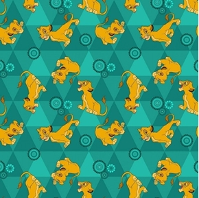 Picture of Flannel Disney Lion King Friends Flannel Simba Green Cotton Fabric