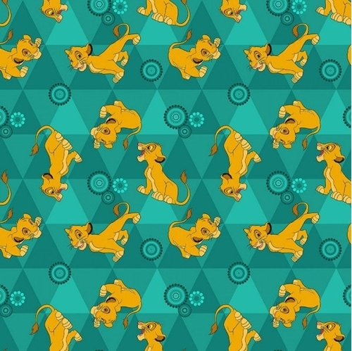 Flannel Disney Lion King Friends Flannel Simba Green Cotton Fabric