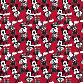 Disney Mickey Minnie Hearts Mickey Mouse Heart Signs Red Cotton Fabric