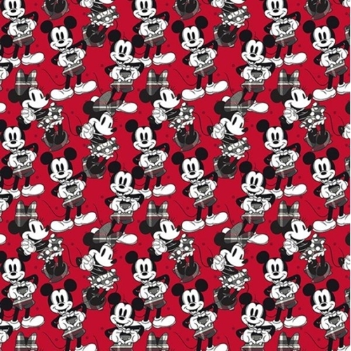 Picture of Disney Mickey Minnie Hearts Mickey Mouse Heart Signs Red Cotton Fabric