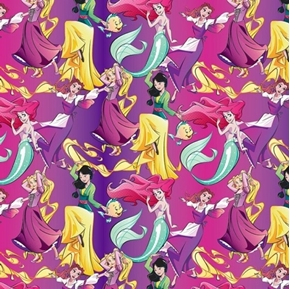 Picture of Disney Princesses Allover Jasmine Rapunzel Pink Purple Cotton Fabric