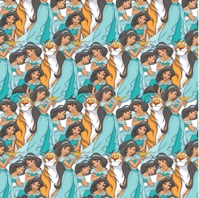 Disney Princess Jasmine Packed Rajah Seafoam Green Cotton Fabric
