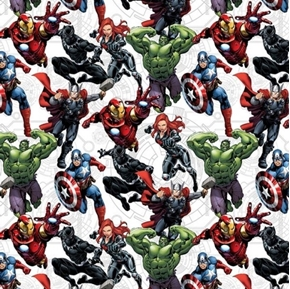 Marvel Avengers Unite Black Panther Hulk Widow White Cotton Fabric