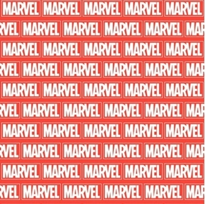 Marvel Avengers Brick Avenger Names on Bricks Red Cotton Fabric