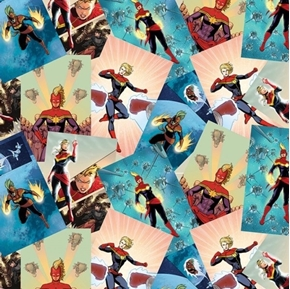 Marvel Avengers Captain Marvel Scenes Carol Danvers Cotton Fabric