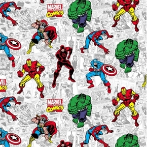 Marvel Comics Action Comic Hulk Thor Daredevil Iron Man Cotton Fabric