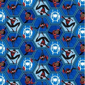 Marvel Spiderman Miles Morales Action Frames Blue Cotton Fabric