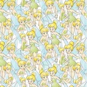 Disney Tinkerbell Sketch Tink from Peter Pan Poses Cotton Fabric