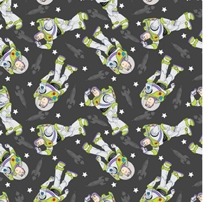 Disney Toy Story Buzz Toss Buzz Lightyear Grey Cotton Fabric