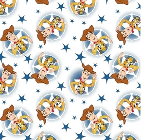Disney Toy Story Woody Toss Cowboy White Cotton Fabric