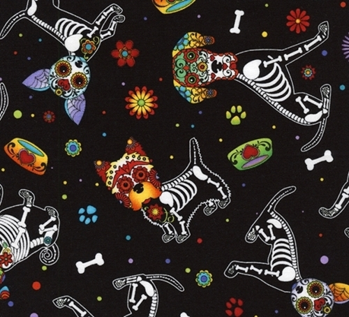 Day of the Dead Pups Dog Dia de los Muertos Cotton Fabric
