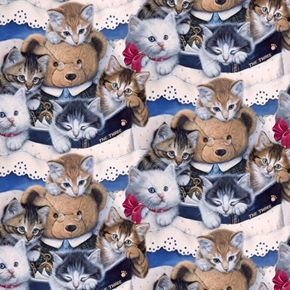 Picture of Kittens and Teddy Bears Kitten Cat Reading Cotton Fabric