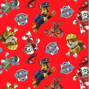 Paw Patrol Toss Characters Marshall Chase Rubble Red Cotton Fabric