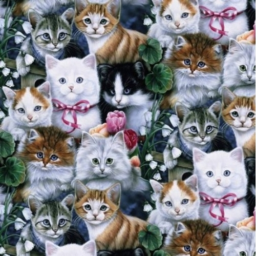 Valentines Kittens Kitten Cats Flowers Packed Cotton Fabric