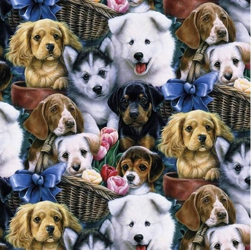 Valentines Puppies Puppy Dogs in Baskets with Flowers Cotton Fabric