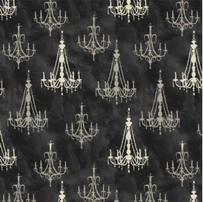 Chandeliers French Couture Elegant Lights Black Cotton Fabric