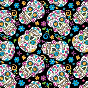 Picture of Folkloric Skulls Sugar Skull Mexico Holiday Cotton Fabric