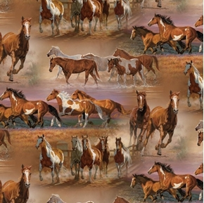 Wild Wings Horses in the Fields Brown Horse Cotton Fabric