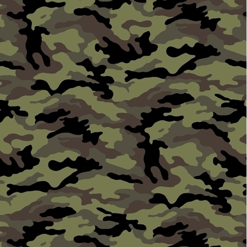 Woodland Camo Black Olive Green Army Camouflage Cotton Fabric
