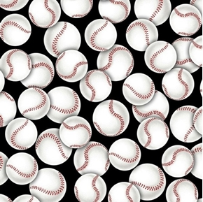 Picture of Packed Baseballs Red Laced Baseball Black Cotton Fabric