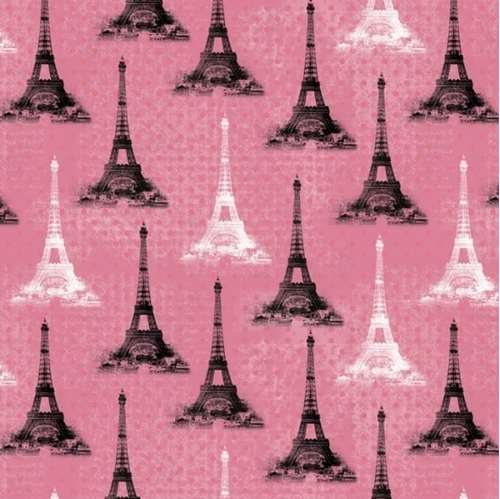 Eiffel Towers Paris Tower Icon Pink Polka Dots Cotton Fabric