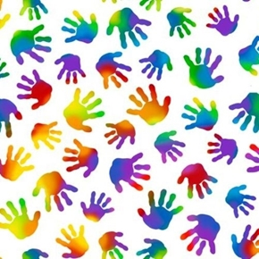 Jesus Loves the Little Children Rainbow Handprint Hands Cotton Fabric