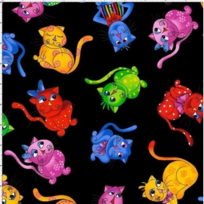Picture of Cool Cats Tossed Black Loralie Colorful Cat Kitten Cotton Fabric
