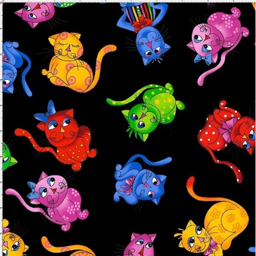Cool Cats Tossed Black Loralie Colorful Cat Kitten Cotton Fabric