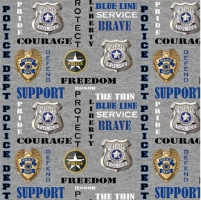 Picture of Police Dept Badge Words Protect Service Courage Grey Cotton Fabric