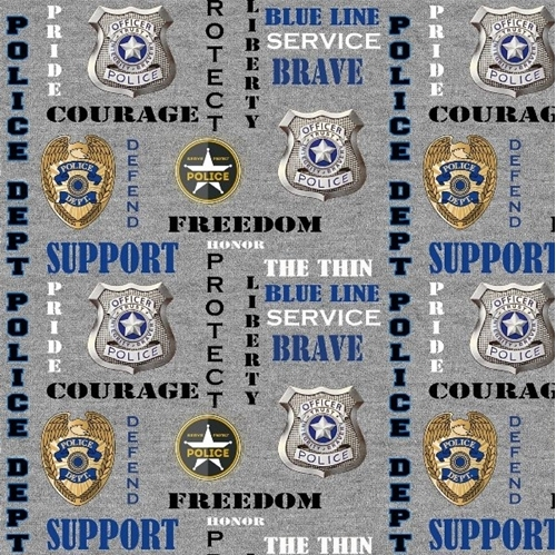 Police Dept Badge Words Protect Service Courage Grey Cotton Fabric