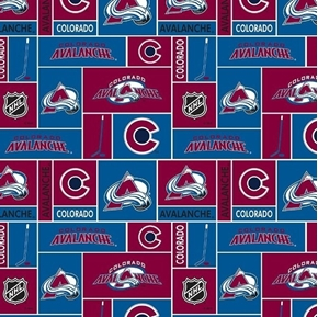Picture of NHL Hockey Colorado Avalanche Logo Squares Maroon Blue Cotton Fabric