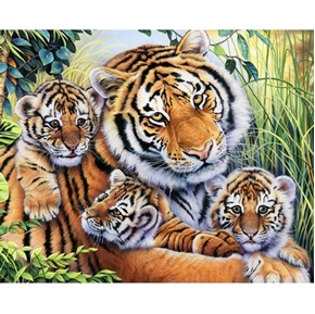 Lilys Pride Tiger Family Mom and Cubs Cotton Fabric Panel