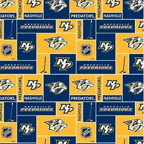 Picture of NHL Hockey Nashville Predators Logo Squares Gold Blue Cotton Fabric