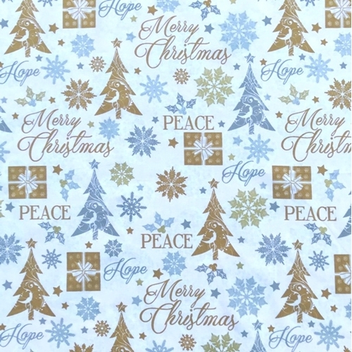 Holiday Gold Silver Trees Snow and Words Peace Hope Cotton Fabric