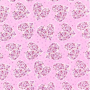 Valentines Day Hearts in Hearts on Pink Cotton Fabric