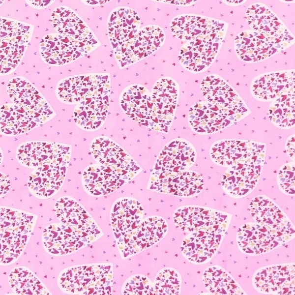 With Love Large Hearts Pink on Red Valentine/'s Day Cotton Fabric by the Yard