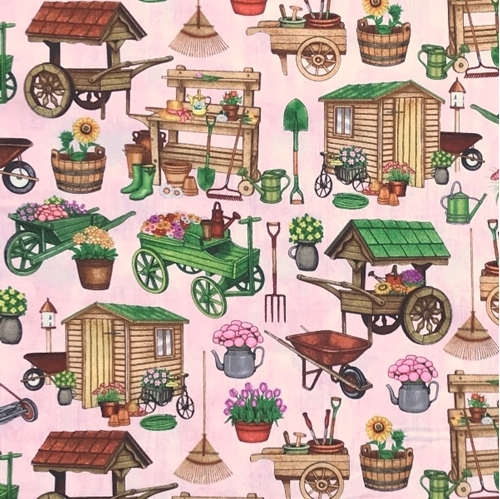 Picture of A Gardening We Will Grow Gardening Carts and Sheds Coral Cotton Fabric
