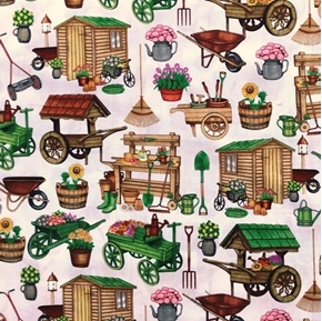 A Gardening We Will Grow Gardening Carts and Sheds Cream Cotton Fabric