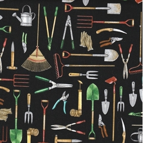 Picture of A Gardening We Will Grow Gardening Tools on Black Cotton Fabric