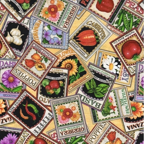 A Gardening We Will Grow Seed Packets Yellow Cotton Fabric
