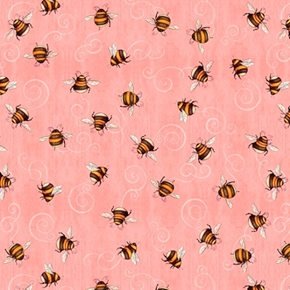 A Gardening We Will Grow Bees Buzzing on Coral Cotton Fabric