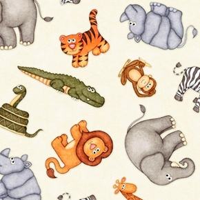 Picture of Jungle Buddies Tossed Animals Snakes Rhino Tigers Cream Cotton Fabric