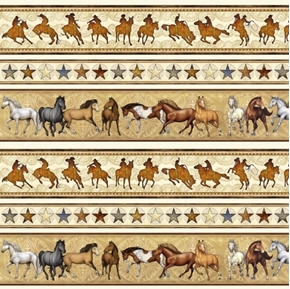 Mustang Sunset Mustang Horse Stripe Horses Cream Cotton Fabric