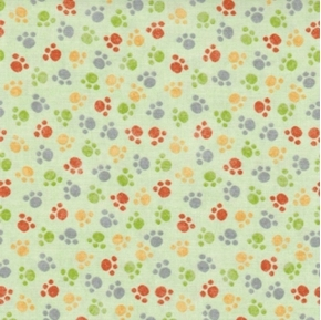 Picture of Jungle Buddies Paw Prints Animal Paws Light Green Cotton Fabric