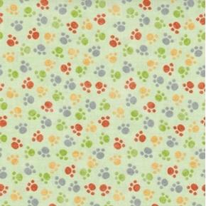 Jungle Buddies Paw Prints Animal Paws Light Green Cotton Fabric