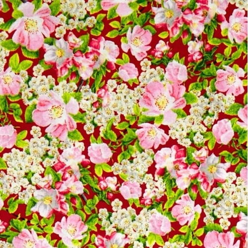 Songs of Nature Packed Dogwood Blossoms on Red Cotton Fabric